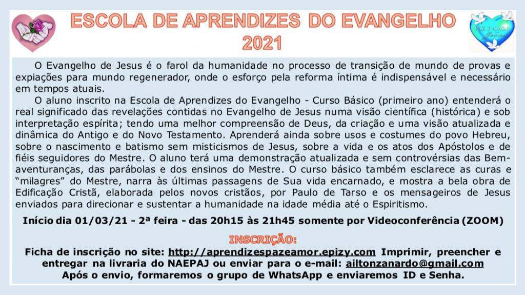 2021 01 23 ESCOLA APRENDIZES DO EVANGELHO
